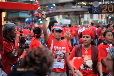 non violence: BANGKOK - NOV 19: Red Shirts Protest Demonstration - Bangkok, Thailand (19th November 2010)
