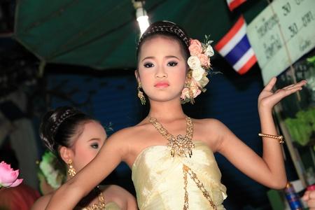 thai dance: BANGKOK - DEC 5: Authentic Dressed Thai Girls Traditional Dance Show for Kings Birthday Celebration - Bangkok, Thailand 5th December 2010) Editorial