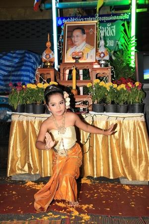 83rd: BANGKOK - DEC 5: Authentic Dressed Thai Girls Traditional Dance Show for Kings Birthday Celebration - Bangkok, Thailand 5th December 2010) Editorial