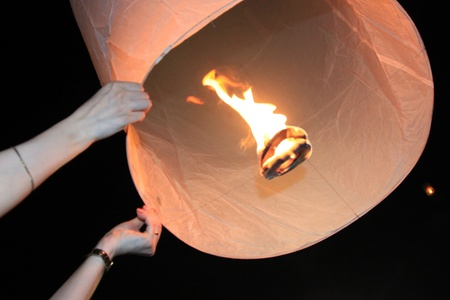 BANGKOK - DEC 5: People Holding a Burning Lantern at the Kings Birthday Celebration - Bangkok, Thailand 5th December 2010)