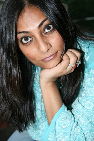 tanned girl: Beautiful Young Indian Lady in Casual Setting