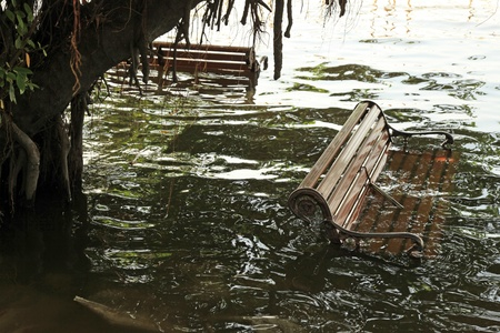 BANGKOK, THAILAND - NOVEMBER 17 : Flooding at Phra Athit after the heaviest rains in 20 years in Thailand on Nov 17, 2011 in Bangkok, Thailand