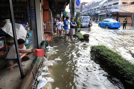 BANGKOK, THAILAND - NOVEMBER 17 : Flooding in Samsen Road after the heaviest rains in 20 years in Thailand on Nov 17, 2011 in Bangkok, Thailand
