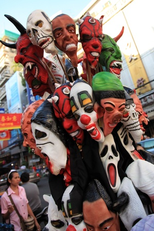 BANGKOK - JANUARY 23 : Chinese New Year 2012 - Scary masks for sale in Chinatown, Bangkok, Thailand