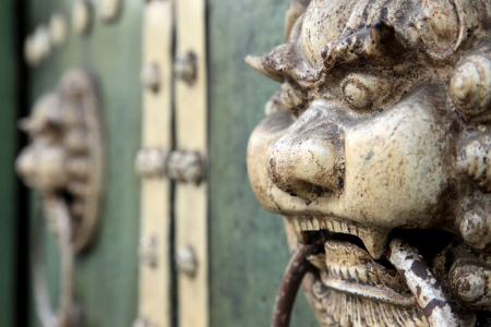 Old Rustic Wooden Temple Door, George Town, Malaysia photo