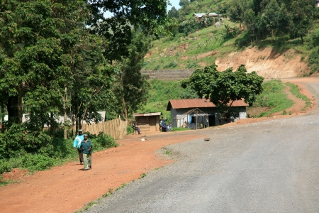 Winding Road Leading Through Kisoro District in Uganda - The Pearl of Africa Stock Photo - 14423365