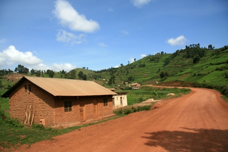 kisoro: Winding Road Leading Through Kisoro District in Uganda - The Pearl of Africa Stock Photo