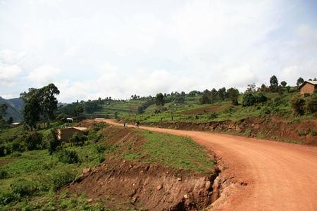 Winding Road Leading Through Kisoro District in Uganda - The Pearl of Africa photo