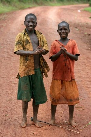 poor african: Two Boys - Local People - Uganda - The Pearl of Africa