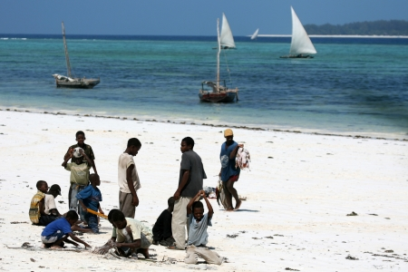 Children at Matemwe Beach on Zanzibar Island, Tanzania