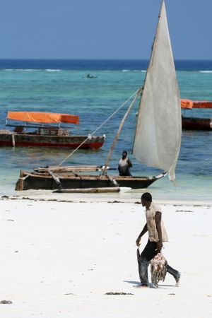 Fisherman at Matemwe Beach on Zanzibar Island, Tanzania