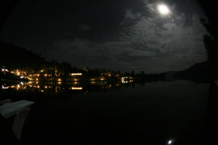 kisoro: Night Scene - Lake Bunyoni, Kisori District, Uganda in East Africa Stock Photo
