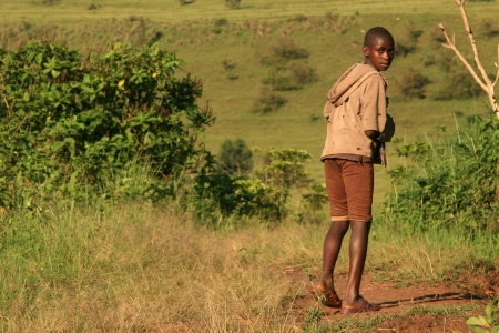 ugandan: Poor African Boy in Uganda in East Africa