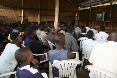 Crowd Watching Football in Uganda, Africa