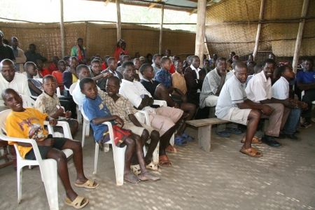 Crowd Watching Football in Uganda, Africa