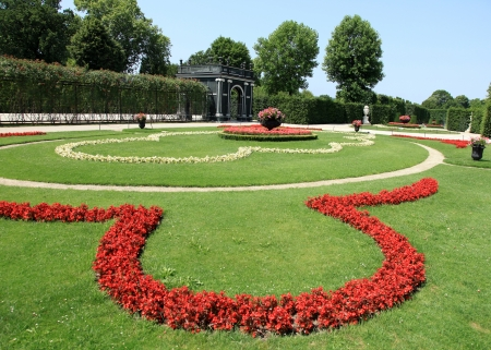 Flower Garden at Schonbrunn Palace, The Historic Royal Residence in Vienna, Austria Editorial