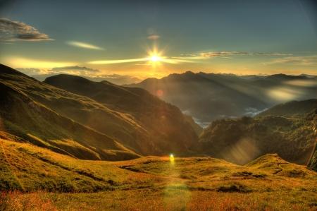 tauern: Sunrise over the Alps Mountain Range Stock Photo