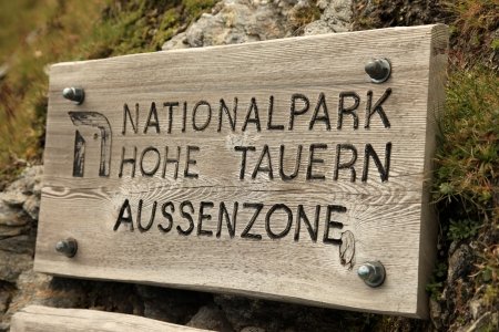 National Park Sign, Hohe Tauren, Austria photo