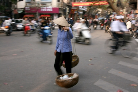 Motion of People in the Busy Streets of Hanoi, Vietnam