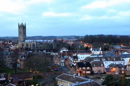 Warwick Town Viewed from the Castle in England, UK photo