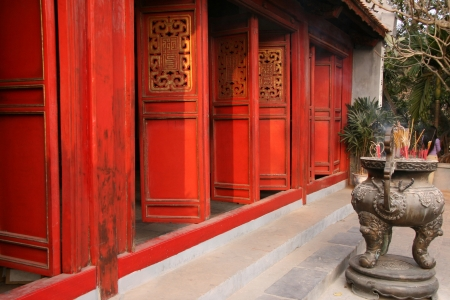 Historic Ngoc Son Temple in Hanoi, Northern Vietnam photo