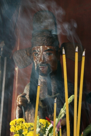 Incense Burning at Jade Emperor Pagoda in City of Ho Chi Minh in Vietnam photo