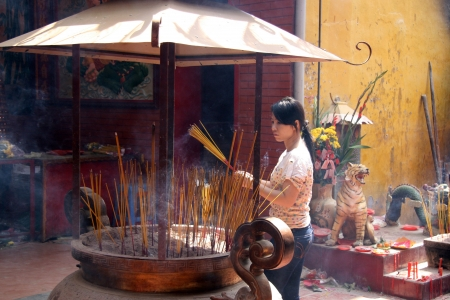 lang: Chinese Temple in Chinatown, Ho Chi Minh, Vietnam