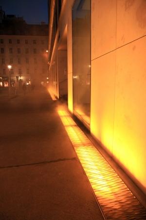 intervention: VIENNA - SEPT 23: Yellow Fog is an intervention by Danish-Icelandic artist Olafur Eliasson. Shown at the Verbund on September 23, 2012, in Vienna, Austria.