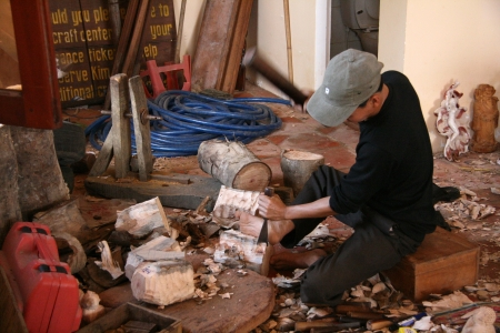 Skilled Woodwork Factory at My Son Sanctuary in Central Vietnam Editorial