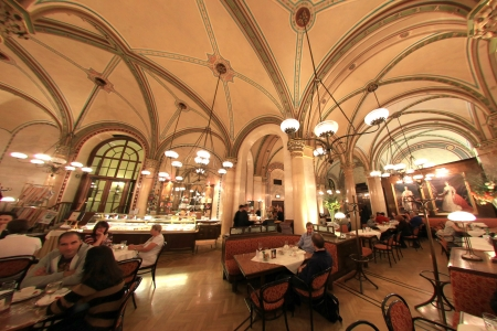 vienna: Traditional Central Cafe Coffe House in Vienna,Austria