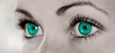 Beautiful Turquoise Feminine Eye Closeup of a Woman Stock Photo