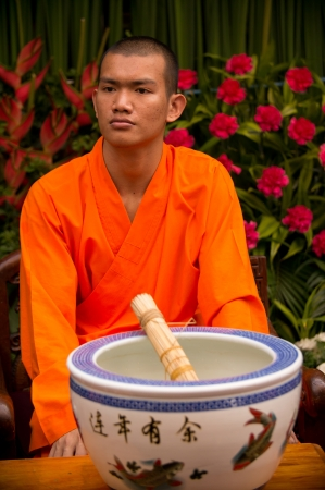 BANGKOK - FEBUARY 10 : Chinese New Year 2013 - Buddhist Monk in Chinatown, Bangkok, Thailand on 10th Febuary 2013