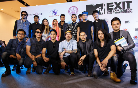 BANGKOK - FEBRUARY 19 2014: MTV Exit Press Conference held in Central World Plaza Bangkok with high profile bands along with US and Australian Ambassadors for upcoming charity concert in Udon Thai, Thailand