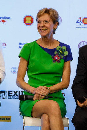 ambassador: BANGKOK - FEBRUARY 19 2014: US Ambassador Kristie Kenney at MTV Exit Press Conference held in Central World Plaza for upcoming charity concert in Udon Thai, Thailand