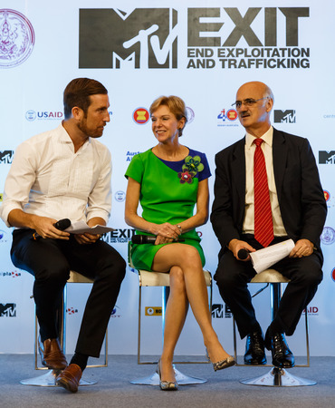 mtv: BANGKOK - FEBRUARY 19 2014: MTV Exit Press Conference held in Central World Plaza Bangkok with high profile bands along with US and Australian Ambassadors for upcoming charity concert in Udon Thai, Thailand