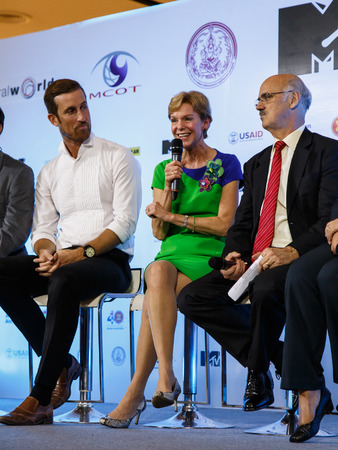 mtv: BANGKOK - FEBRUARY 19 2014: US Ambassador Kristie Kenney at MTV Exit Press Conference held in Central World Plaza for upcoming charity concert in Udon Thai, Thailand