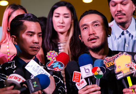 mtv: BANGKOK - FEBRUARY 19 2014: Toon (Athiwara Khongmalai) - Lead Singer of Bodyslam at MTV Exit Press Conference held in Central World Plaza Bangkok for upcoming charity concert in Udon Thai, Thailand