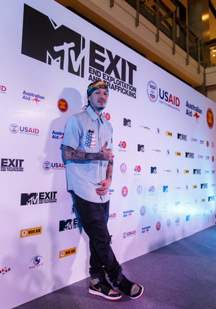 BANGKOK - FEBRUARY 19 2014: Dandee (Lead Vocalist with Project E.A.R) at MTV Exit Press Conference held in Central World Plaza Bangkok for upcoming charity concert in Udon Thai, Thailand