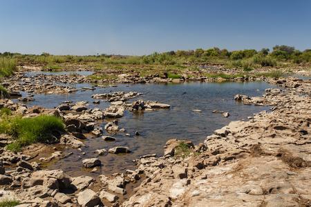 zambian: Zambezi River Above the Falls Drop Off in Livingstone, Zambia - Africa