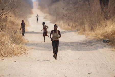 CHOBE, BOTSWANA - OCTOBER 5 2013: Poor African children wander through the desert like Chobe National Park. This year was declared as a drought year by the government in Botswana, Africa