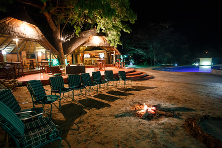 CHOBE, BOTSWANA - OCTOBER 4 2013: Luxury safari camp in Chobe National Park during a year that was declared as a drought year by the government in Botswana, Africa