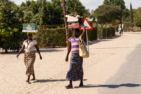 KATIMA MULILO, NAMIBIA - OCTOBER 16 2013: Local life goes on during a year of drought in the North Eastern town of Katima Mulilo in Namibia, Africa