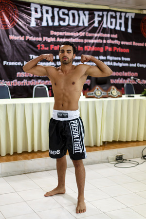 part prison: THAILAND - FEBUARY 12 2014: Mohammed Bouazza takes part in press conference for the upcoming Prison Fight round 6 competition in Khlong Phai Prison, Thailand
