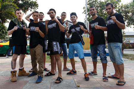 inmates: THAILAND - FEBUARY 13 2014: Fighters after the prison fight  muay thai competition between international fighters and inmates within the walls of KhlongPai Prison, Thailand