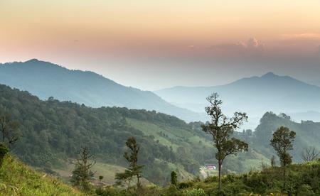 fa: Scenic Landscape during sunrise at Phu Chi Fa, North Thailand Stock Photo