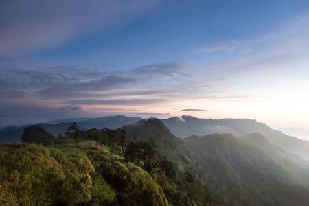 fa: Above The Clouds Scenic Landscape at Phu Chi Fa, Thailand Stock Photo