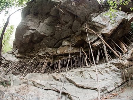 namtok: Rock Feature at Mae Sa Waterfall National Park in Northern Thailand