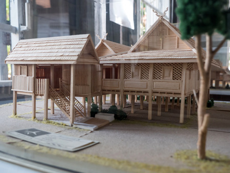 stilts: A traditional ruean galae model wooden house, Northern Thailand Editorial