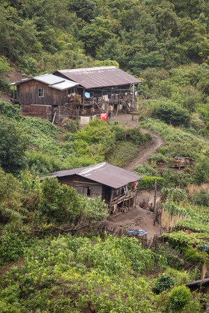 chine: Village Settlement in the Chine State of Western Myanmar (Burma) Stock Photo