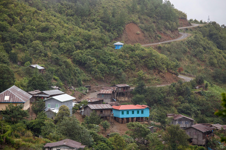 unspoilt: Village Settlement in the Chine State of Western Myanmar (Burma) Stock Photo